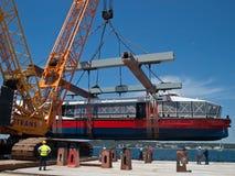 Launching new catamaran Stock Photography