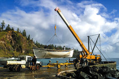 Launching old whaling boat at Cascade Bay Stock Image