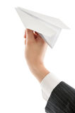 Launching paper airplane Royalty Free Stock Photography
