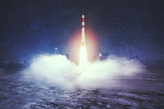 Launching rocket in city Royalty Free Stock Photos