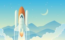 Launching Rocket Illustration vector illustration