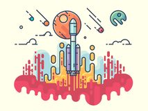 Launching rocket into space. Interstellar journey to explore new planets. Vector illustration royalty free illustration