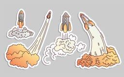 Launching rockets vector cartoon illustration. Rocket launch vector illustration icon set. Space shuttle, ship on white. Background. Start up cartoon concept vector illustration