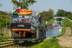 Launching small ship in a canal royalty free stock image