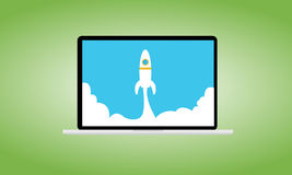Launching startups. Launching a startup or new business vector illustration