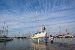 Launching Yacht Sailing Academy  Stock Photography