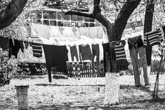 Launder clothes. Drying in the sun in the courtyard Stock Photography