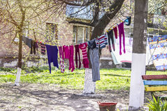 Launder clothes. Drying in the sun in the courtyard stock photo