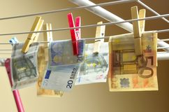 Launder money. A grocer with euro notes, symbolizing money laundering Royalty Free Stock Photography