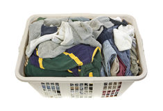 Laundered clothes in plastic hamper Stock Photography