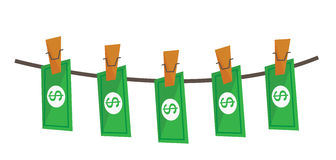 Laundered dollars on rope vector illustration. Royalty Free Stock Image