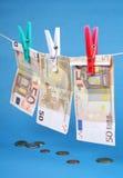Laundering 50 счетов евро Стоковое фото RF