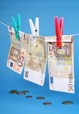 Laundering of fifty euro bills Royalty Free Stock Photo