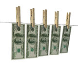 Laundering hundred dollar bills Royalty Free Stock Images
