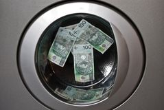 Laundering money. After the washing foot to do the shopping Royalty Free Stock Photography