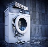 Laundering of money business background concept closeup Stock Photos