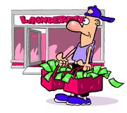 Laundering money cartoon Royalty Free Stock Images