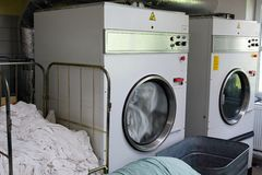 Laundromat dryers Stock Photo
