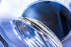 Laundromat. Industrial washing machines in a public laundromat royalty free stock images