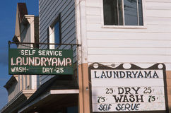 Laundromat in a small town, Washburn, WI royalty free stock photos