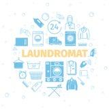 Laundromat sztandar royalty ilustracja