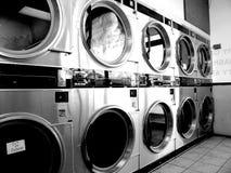 Laundromat Vintage. Old BW shot of Laundromat royalty free stock image