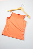 Laundry. Orange clothe on the hanger Stock Image