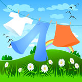 Laundry. Put out to dry laundry outdoors Stock Images