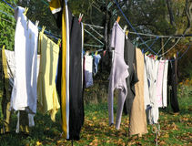 Laundry. The laundry dries in the sun Stock Images