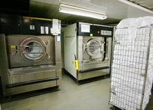 Laundry. In hotel. Industrial washing machines stock photo