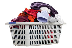 Laundry. In a basket on a white background Royalty Free Stock Images