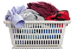 Laundry. In a basket on a white background Stock Photography