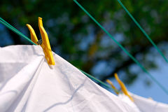 Laundry. Drying bedding in fresh air royalty free stock images