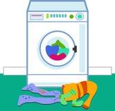 Laundry. Washing machine and household laundry Stock Photo