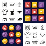 Laundry All in One Icons Black & White Color Flat Design Freehand Set Royalty Free Stock Photos