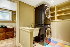 Laundry area  in bathroom Royalty Free Stock Photography