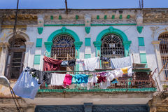 Laundry on the balcony of an old colonial building in Havana Stock Images