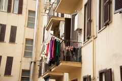Laundry on the balcony in Rome. Drying clothes hanging on the balcony in Rome, Italy Stock Images