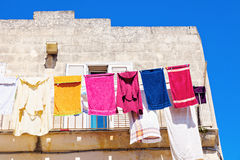 Laundry on the balcony - Sassi in Matera Royalty Free Stock Photography