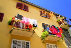 Laundry balcony Royalty Free Stock Images
