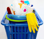 Laundry basket with a detergent Stock Photos