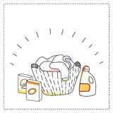 Laundry basket, detergents, vector illustration. Background template royalty free illustration