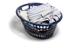 Laundry Basket with Dirty Clothes Royalty Free Stock Images