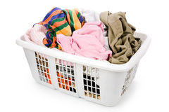 Laundry basket and dirty clothing Stock Image