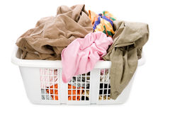 Laundry basket and dirty clothing Royalty Free Stock Photo