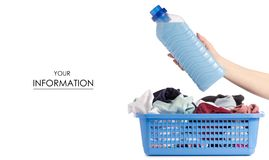 Laundry basket dirty wash clean bottle of liquid powder conditioner softener in hand pattern. On white background isolation Stock Photography