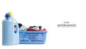 Laundry basket dirty wash clean bottle of liquid powder conditioner softener pattern. On white background isolation Royalty Free Stock Image
