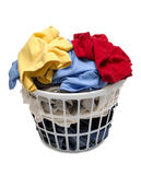 Laundry Basket Full Of Clothes Shot On Angle Royalty Free Stock Photography