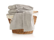 Laundry Basket full of towels Stock Photography