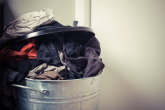 Laundry basket at home Stock Photos